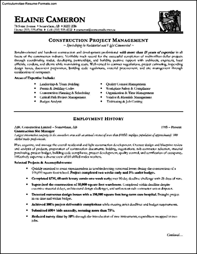 Resume Template Construction