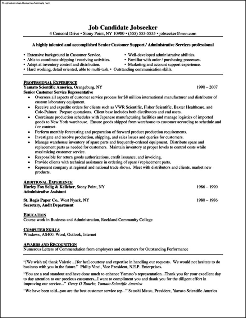Resume Template Customer Service Representative