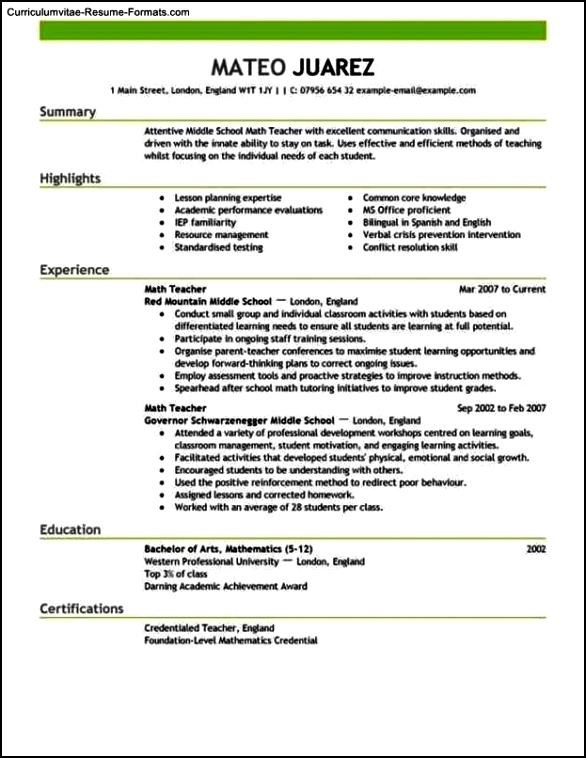Resume Template Education