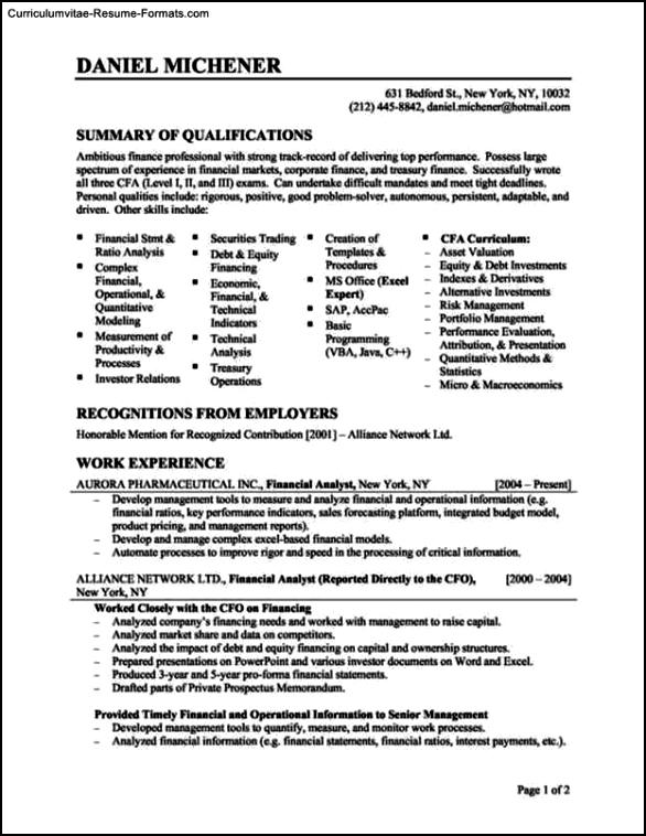 Resume Template Finance
