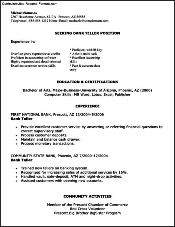 Resume Template For Bank Teller