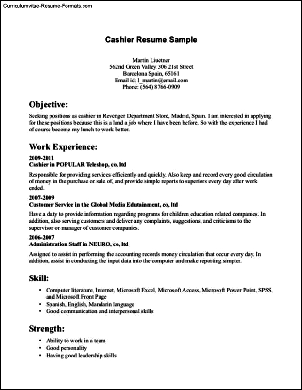 Resume Template For Cashier