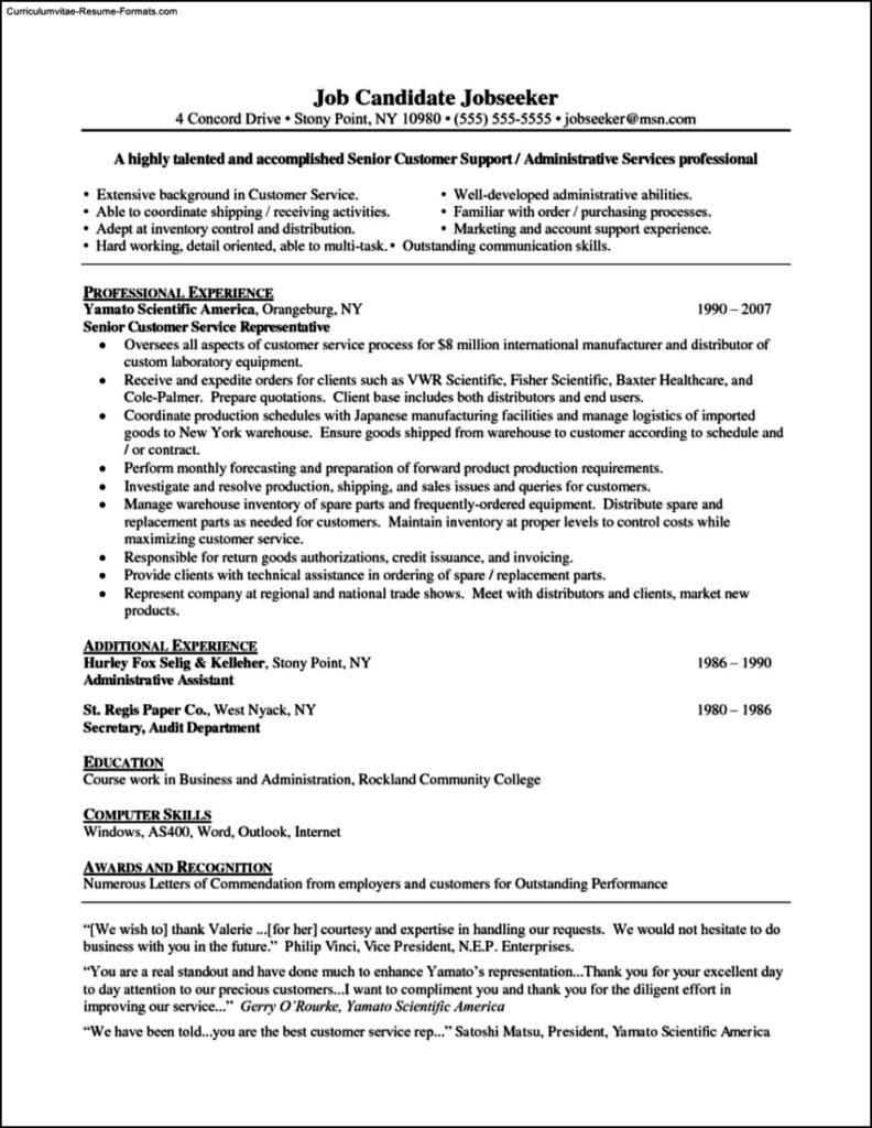 Resume Template For Customer Service Representative