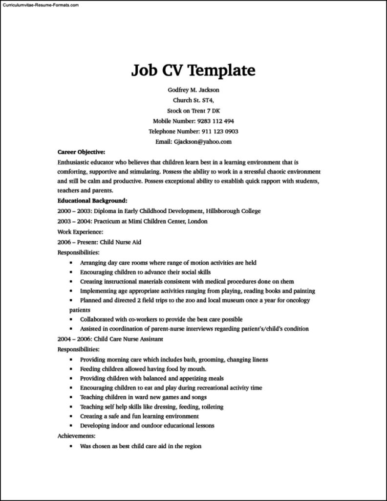 Resume Template For It Job