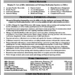 Resume Template For Manager Position