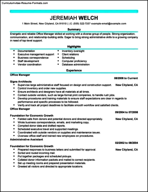 Resume Template For Office Manager