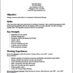 Resume Template For Restaurant Server