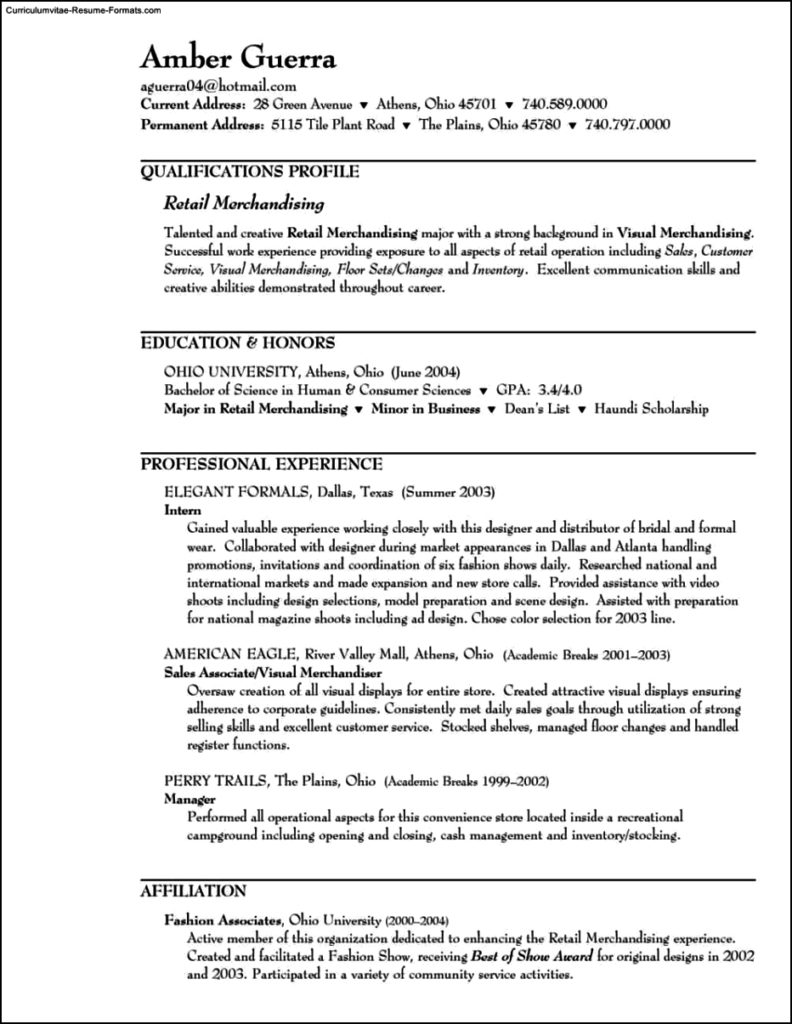 Resume Template For Retail Sales Associate