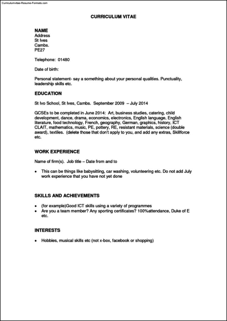 Resume Template For Work Experience