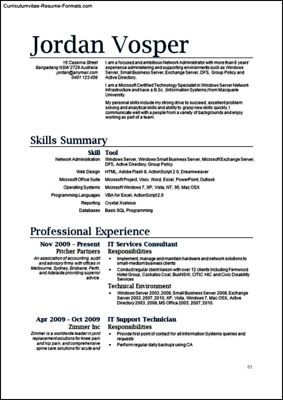 Resume Template It