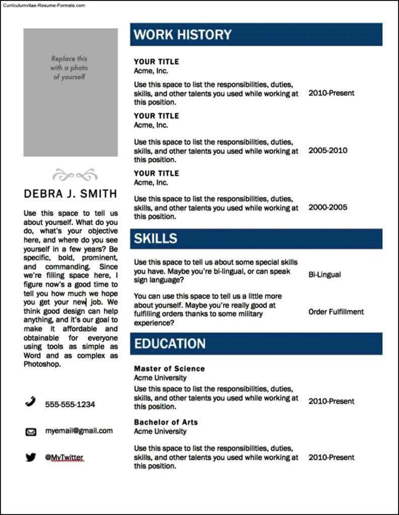 Resume Template Microsoft Word