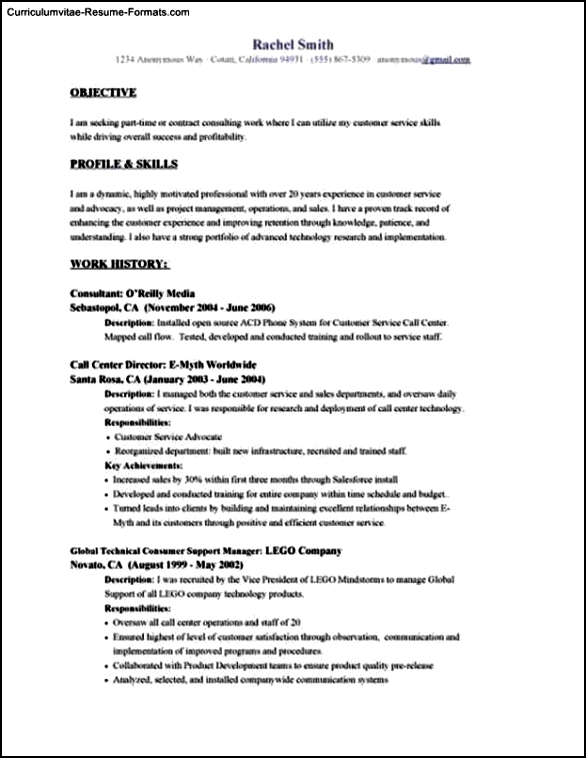 Resume Template Objective