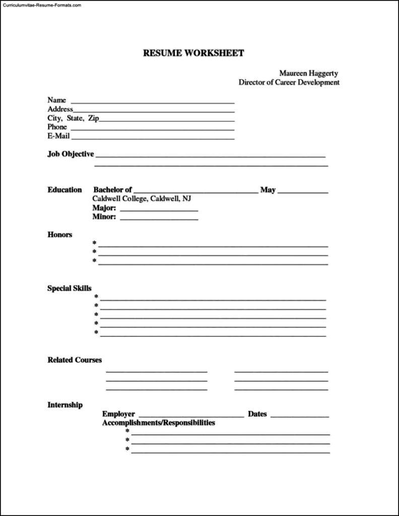 Resume Template Printable