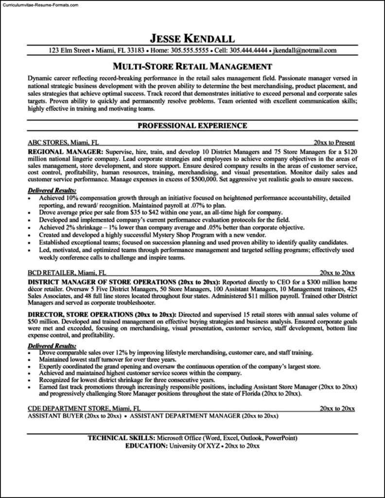 Resume Template Retail Manager