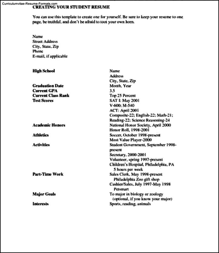 Resume Template School Student