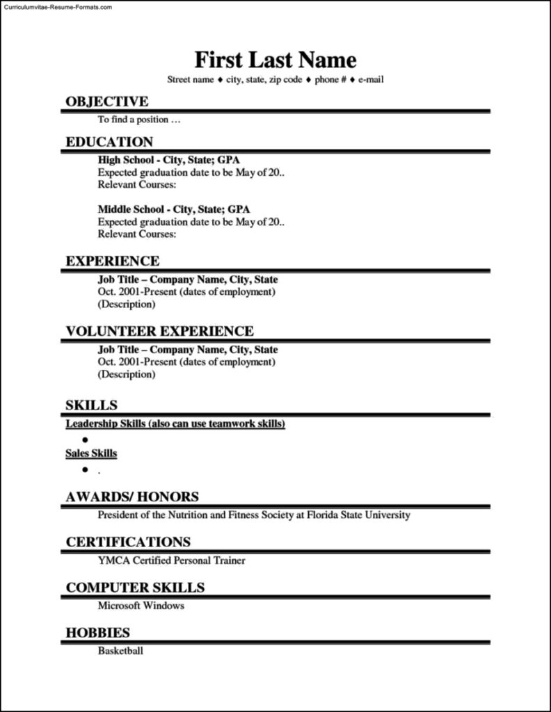 Resume Template Students