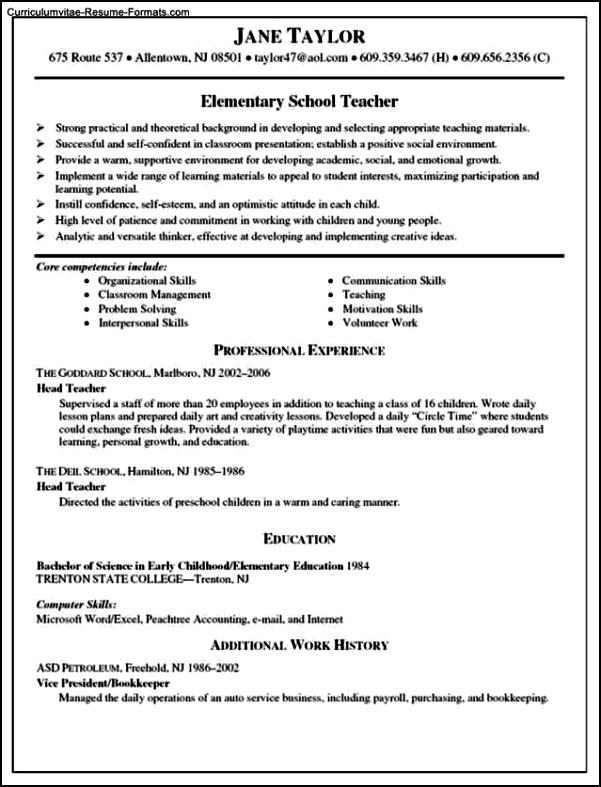 Resume Template Teacher