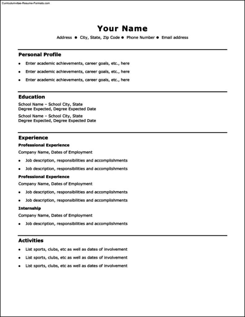 Resume Templates Basic