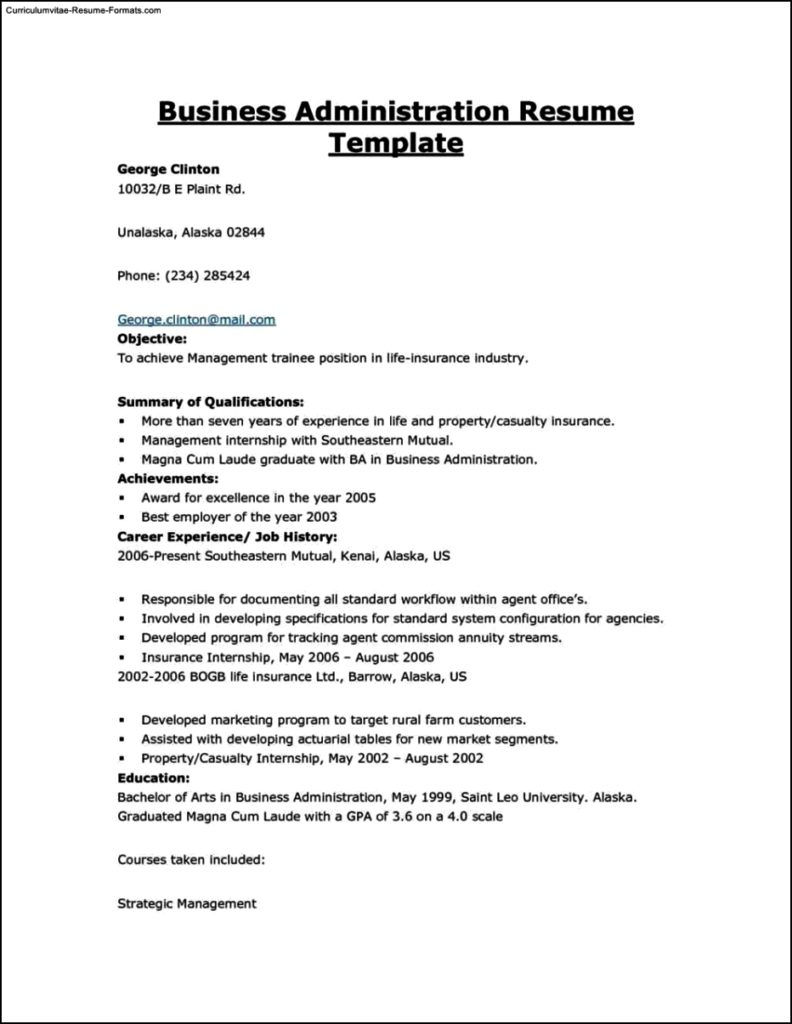 Resume Templates Business Free Samples Examples