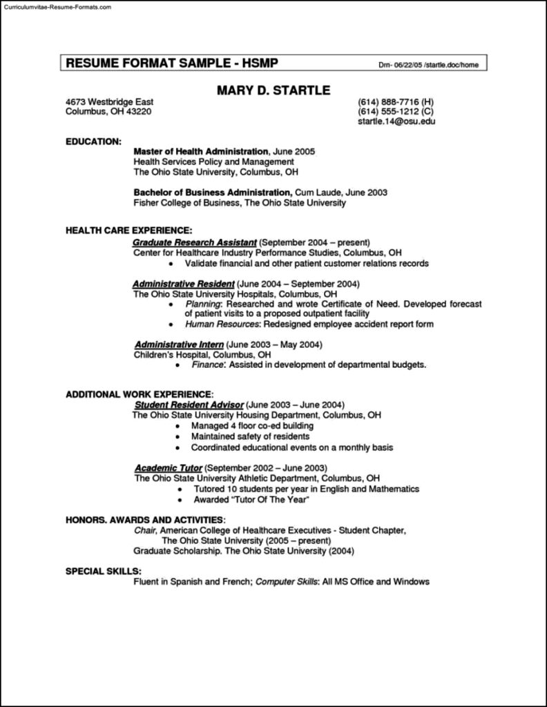 Resume Templates Canada