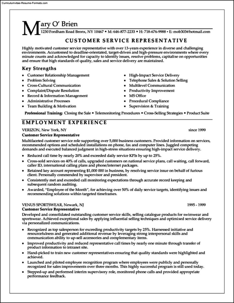 Resume Templates Customer Service Representative