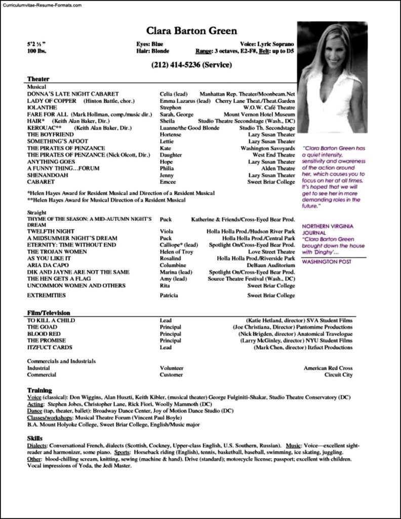 resume templates for actors free samples examples