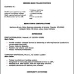 Resume Templates For Bank Teller