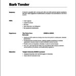 Resume Templates For Bartenders