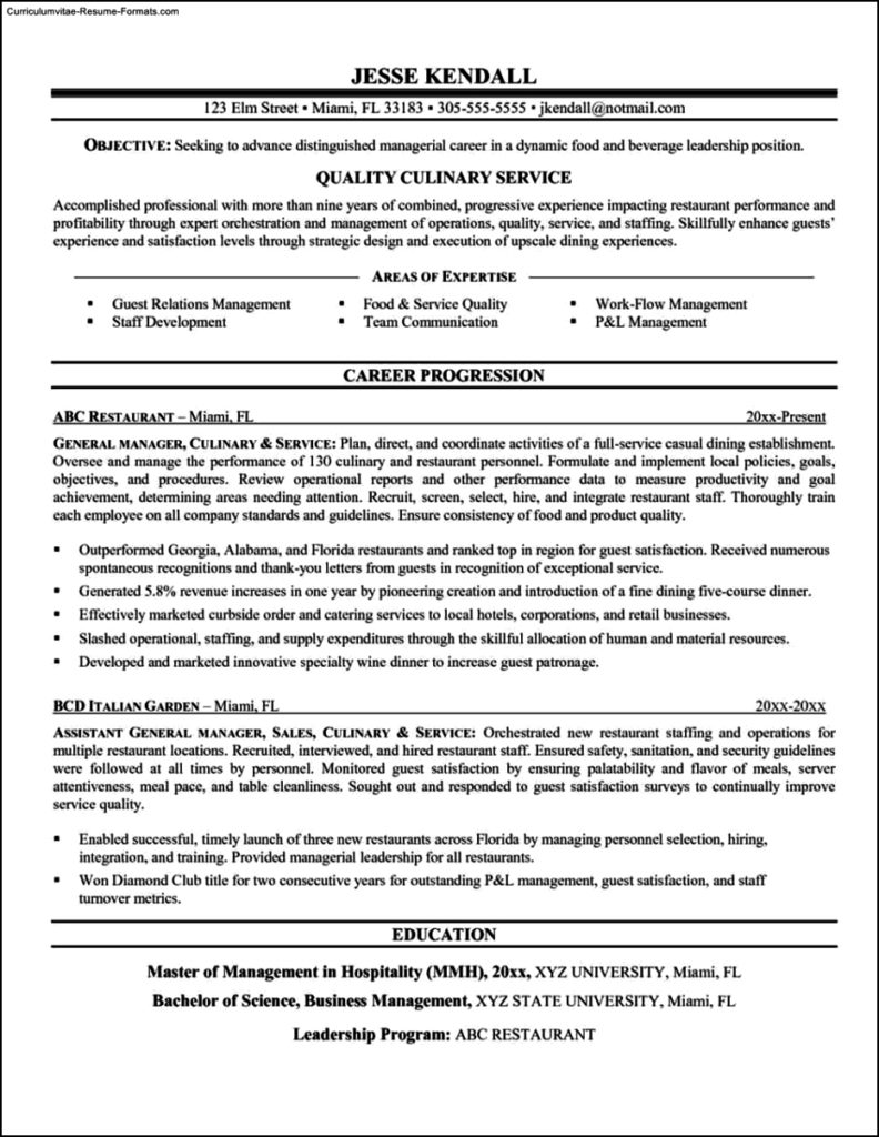 Resume Templates For Chefs - Free Samples , Examples & Format ...
