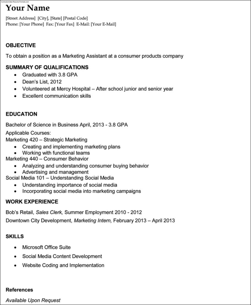 Resume Templates For College Graduates