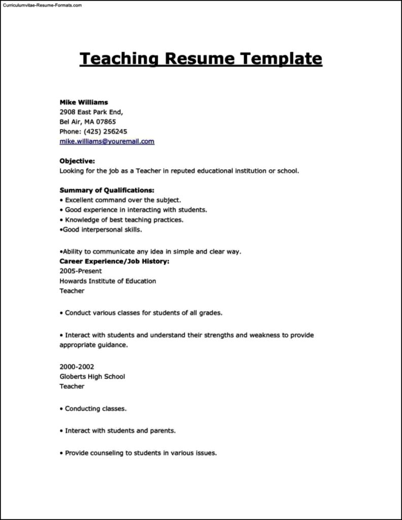 Education resume template free