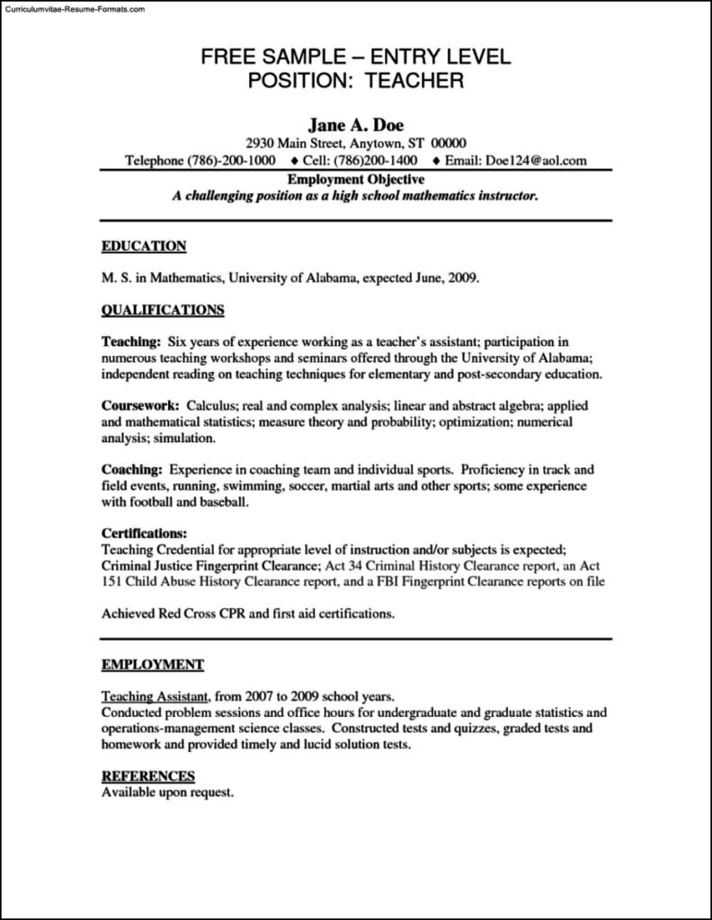Resume Templates For Entry Level Jobs
