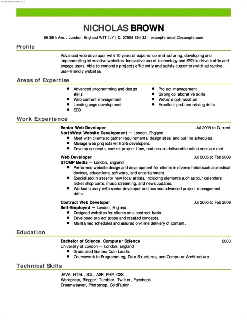 Resume Templates For Job