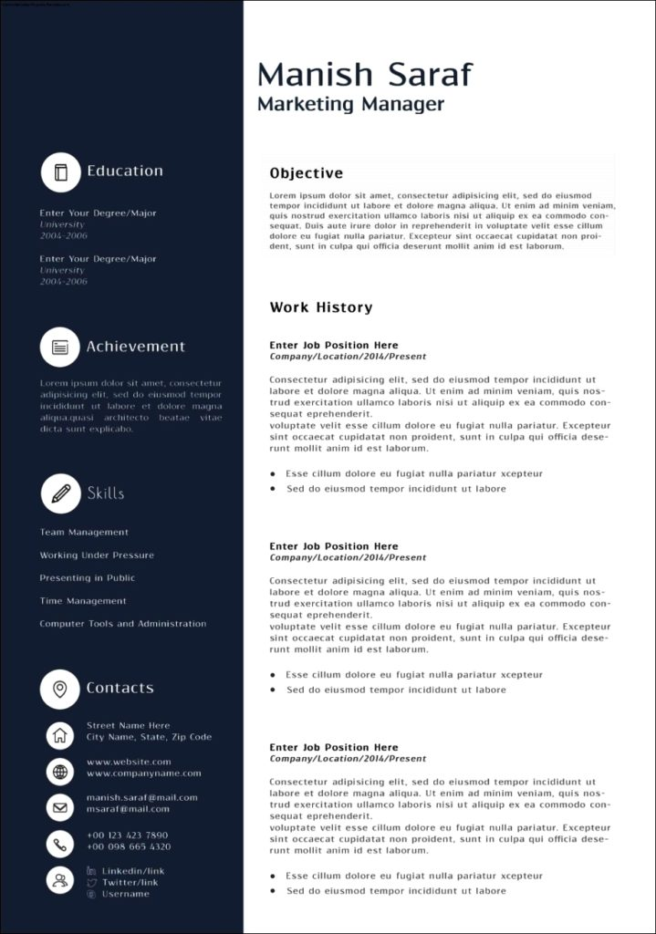 Resume Templates For Marketing