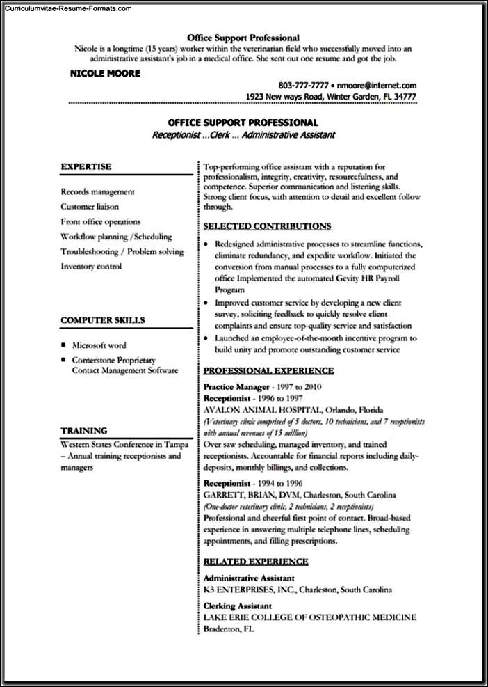 Resume Templates For Microsoft Office
