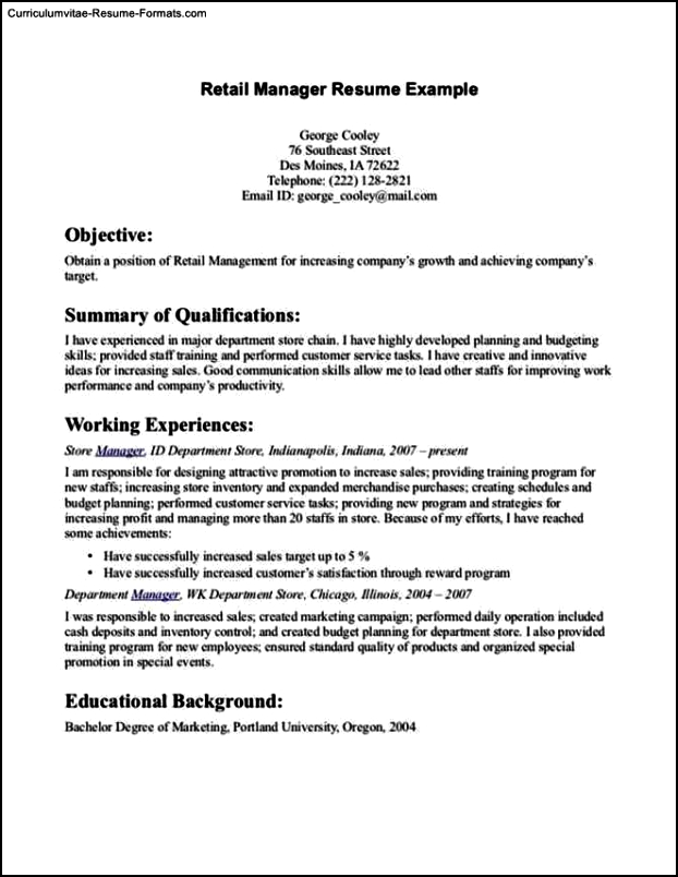 Resume Templates For Retail
