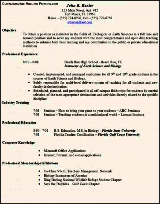 Resume Templates For Teaching Positions Free Samples