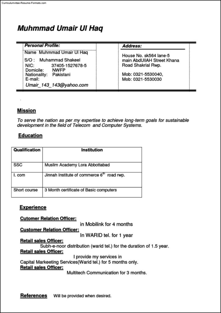 Resume Templates Free Download Doc