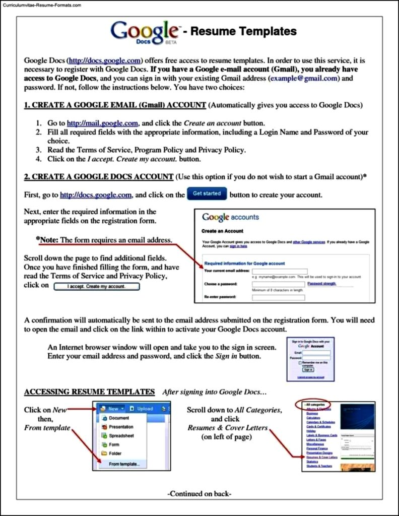 Resume Templates Google
