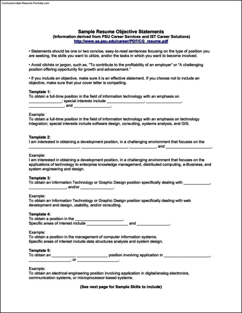 Resume Templates Objective Statement