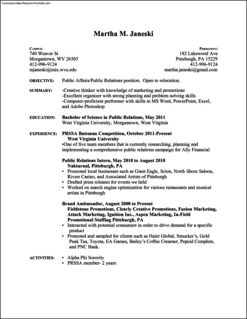Resume Templates Pdf Format