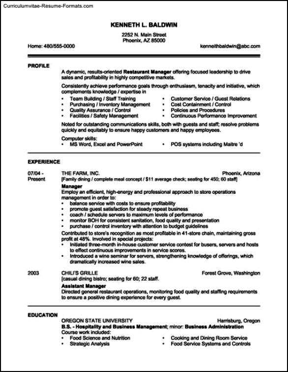 Resume Templates Restaurant