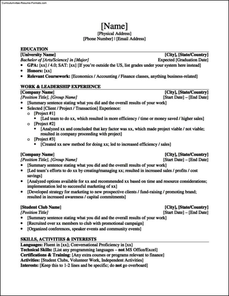 resume templates student