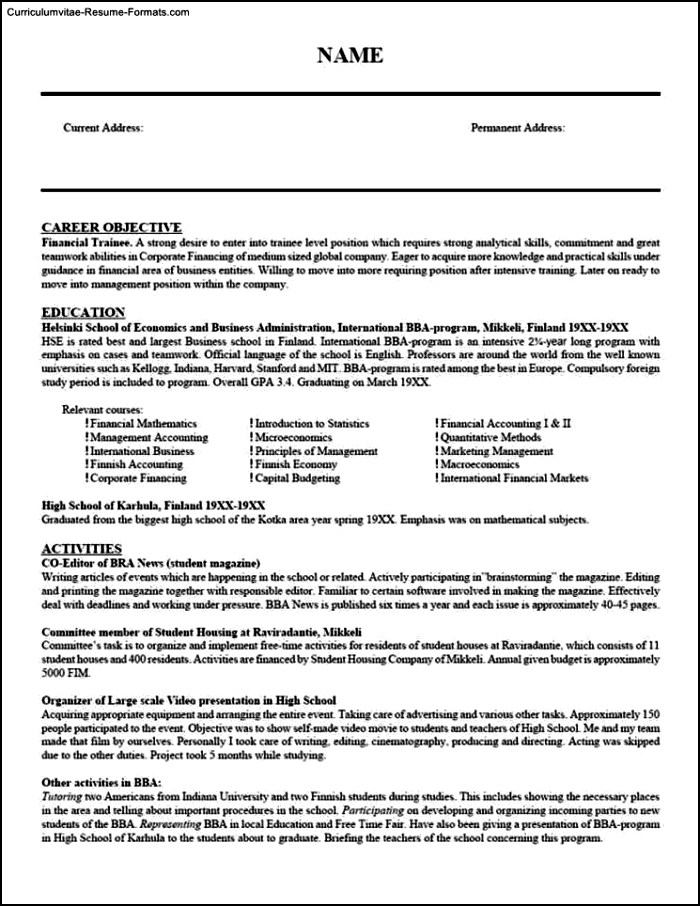 Resume Templates Teacher
