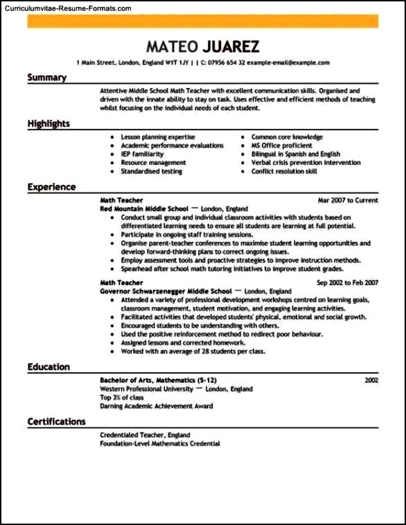 Resume Templates Teachers
