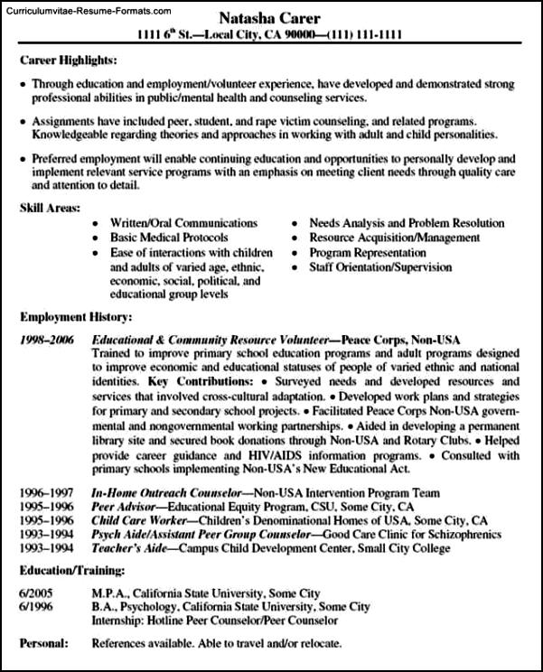 resume templates volunteer work