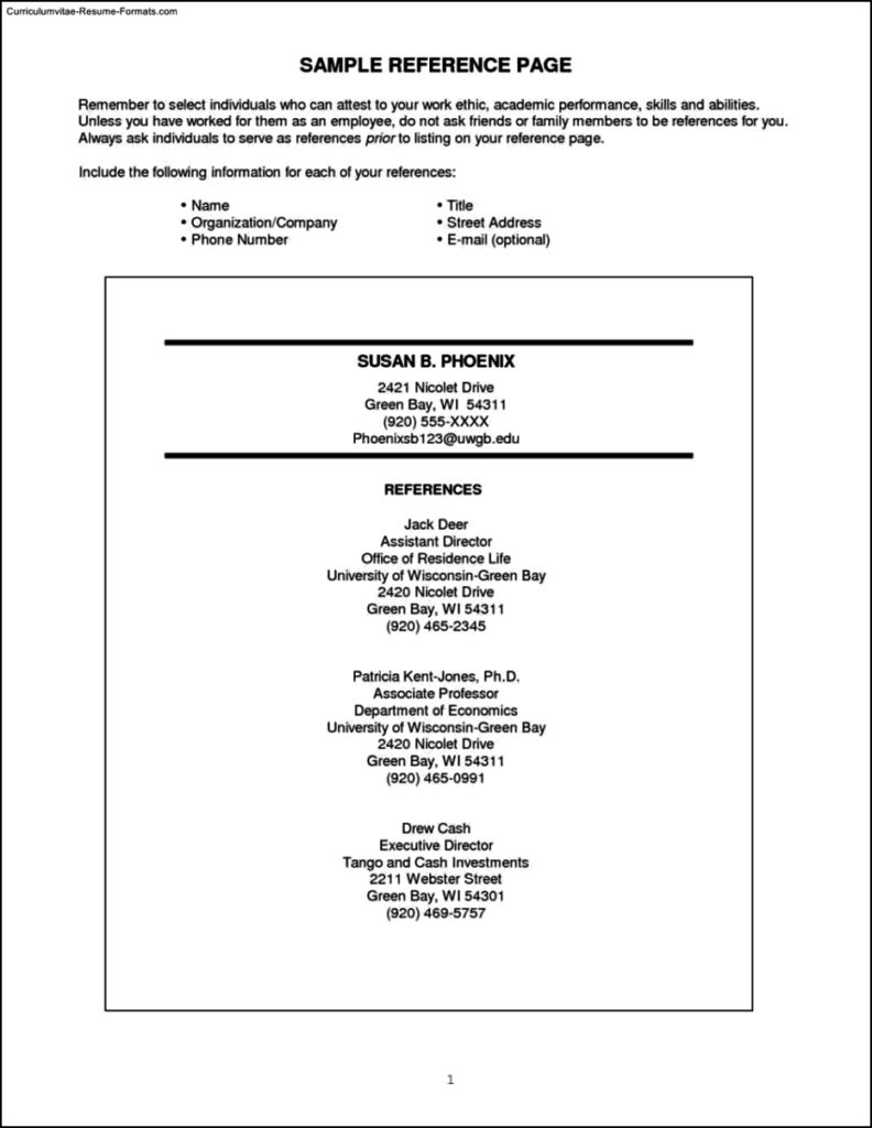 Resume Templates With References
