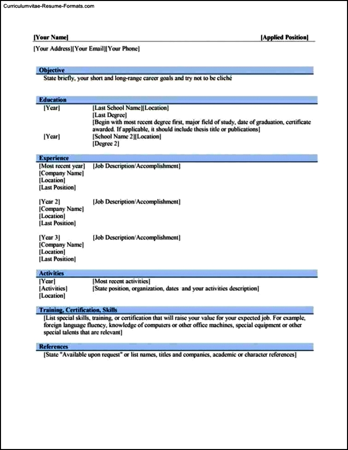 Resume Templates Word 2010 Download
