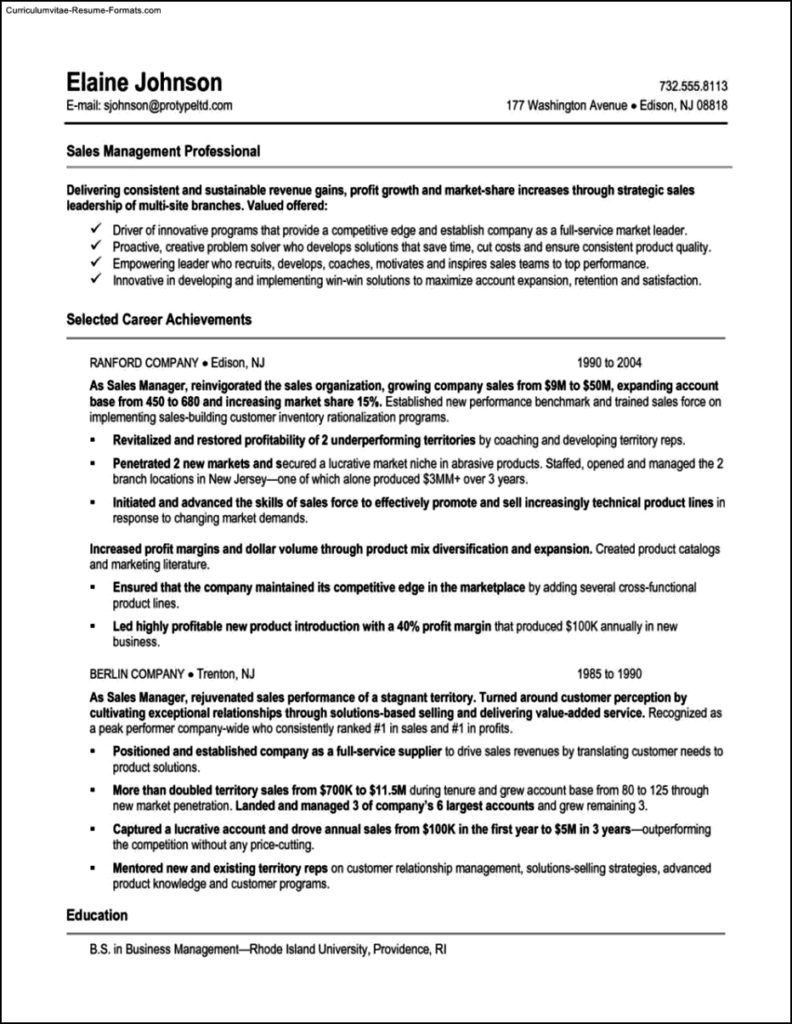 Sales Manager Resume Templates