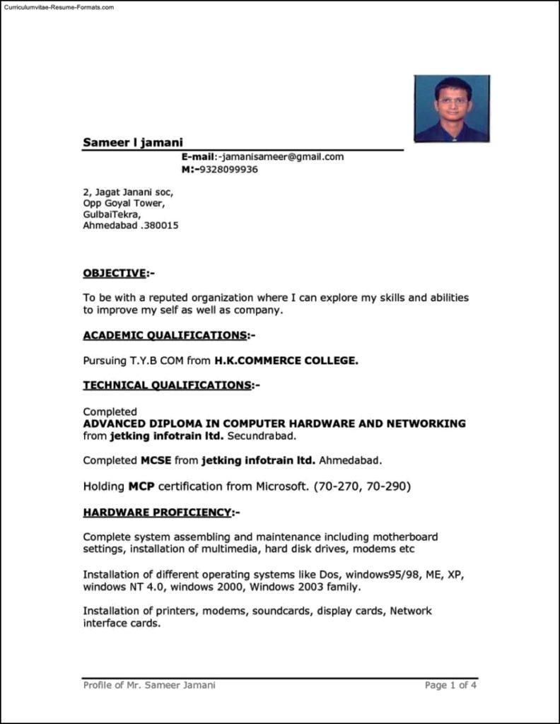 Sample Resume Templates Word